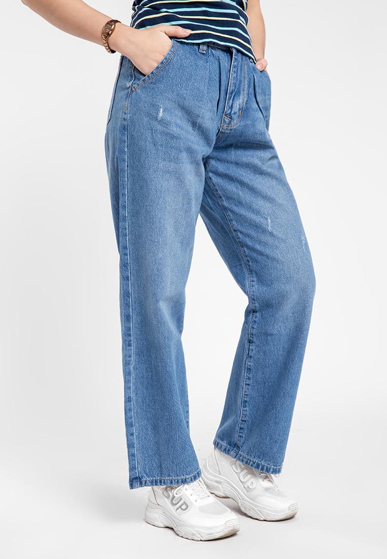 Quần jean nữ dài form rộng thời trang JONNY SON DX5819XD
