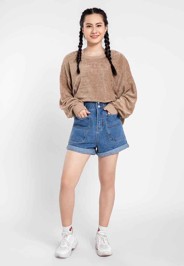 Quần jean nữ short phối túi xăn lai JONNY SON HMT00220XS