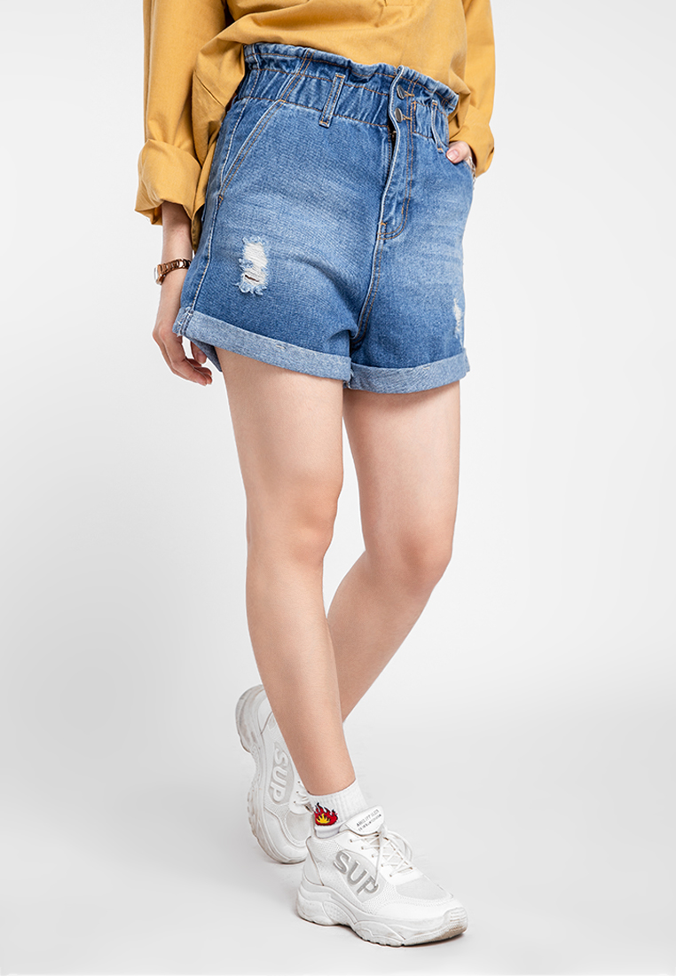 Quần jean nữ short phối túi xăn lai cào rách JONNY SON HMT00320XS