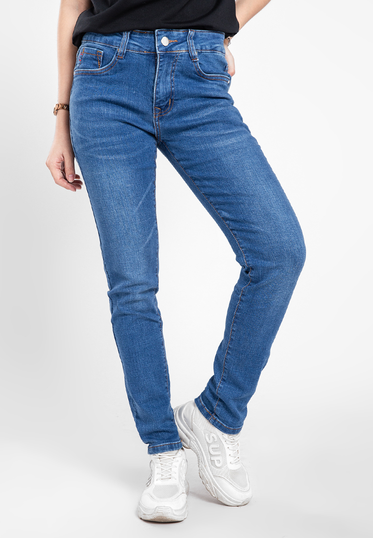 Quần jean nữ dài wash thời trang JONNY SON QXD93YAD005