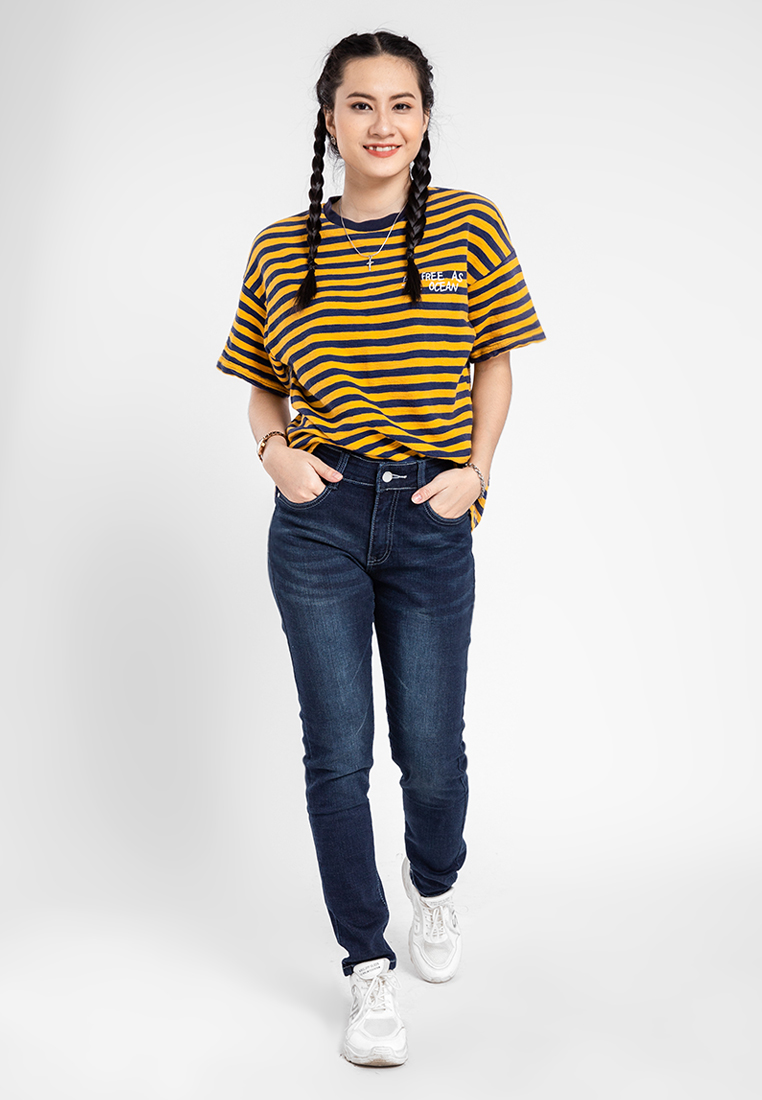 Quần jean nữ dài wash thời trang JONNY SON QXD93YAD026